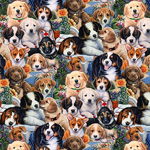 Garden Puppies Cotton Fabric by The Yard