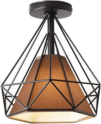 Vintage Lámpara de techo E27 Industria Balcón Corredor Plafones de techo, Escalera Ático Moda lámpara de pared Retro Cocina Luz de restaurante, Club Cafe Bar Creativo Metal Iluminación de techo D25cm: Amazon.es: