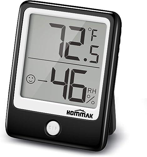 Hommak Thermomètre hygromètre, [Style Mini] hygromètre avec tendance d'humidité, 3 options de montage, thermomètre in...