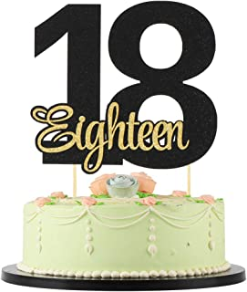 18 birthday cake topper Black Number 18 Golden Flash English eighteen Cake Topper - Birthday Party, Wedding, 18th Anniversary Cake Decorations 18th birthday decorations 18 cake topper for 18th birthda