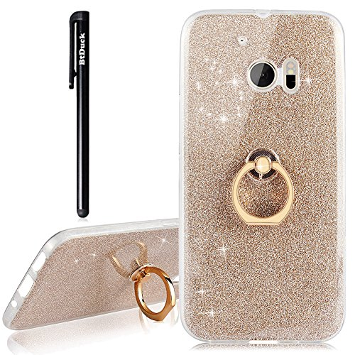 BtDuck Compatible for HTC One M10 Hülle Glitzer Gold Glitzer Soft Ultra Transparent TPU Silikon Handyhüllen Kratzfeste Schutzhülle + Ständer Ringhalter Tasche Crystal Glear TPU