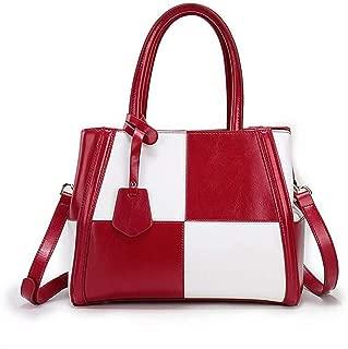 Fashion Leather Handbag Hit Color Leather Big Bag Large Capacity Shoulder Messenger Bag (Color : Red)