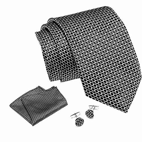 Elemental Goods [72 VARIAZIONI] Alanzio Uomo Set Cravatta - Set 3 Parti - Cravatta Di Lusso + Gemelli + Fazzoletto - 145 Centimetri x 8cm