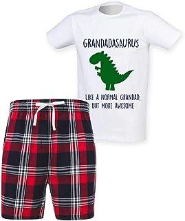 60 Second Makeover Limited Mens Grandad Dinosaur Christmas Tartan Short Pyjama Set Family Matching Twinning