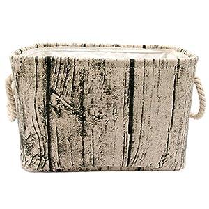 Jacone Stylish Tree Stump Design Wood Grain Rectangular Storage Basket Washable Cotton Fabric Nursery Hamper with Rope Handles, Decorative and Convenient for Kids Rooms (Medium)