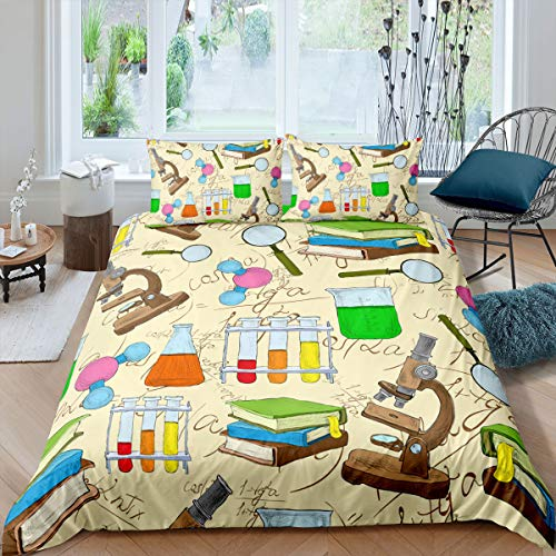 Science Duvet Cover Set,Kids Teens Cartoon Bedding Sets Books and Microscope Flask Pattern Comforter Set,Modern School Theme Quilt Cover for Boys Girls Soft Microfiber Decor,Full Size,Colorful