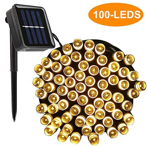 LED Solar Lichterkette, Vegena 12M 100LED Warmweiß Solar Lichtern, IP44 Wasserdicht Solarlichterkette,Außerlichterkette Deko für Garten,Bäume,Terrasse,Hochzeiten,Partys