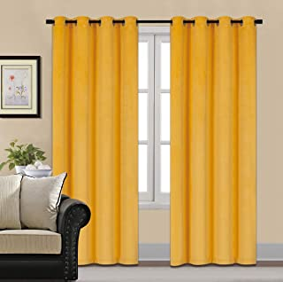 HCILY Velvet Blackout Curtains Thermal Insulated for Bedroom 2 Panels (W52'' x L96'', Golden Yellow)