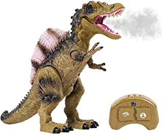 Remote Control Dinosaur Toy for Kids with Roaring Sounds and Smoking Breath. RC Spinosaurus with Glowing Eyes, Walking Mov...