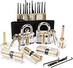 Lockpicking-set, 7 transparant oefenslot + 15-delige Dietrich-set, hangsloten & sleutels voor beginners professionals vaar...