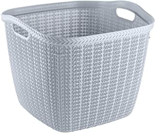 Hobby Life Square Laundry Basket Knit Design 42 Litre (Cool Grey)