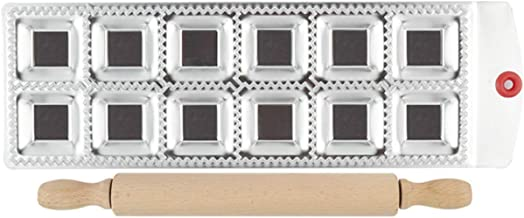 رافيولي ميكر، عبوة من قطعتين من ماكينات صنع فطائر البروجي/الفطائر من الفولاذ المقاوم للصدأ مع دبوس دوار، قالب ضغط إمبندا -...