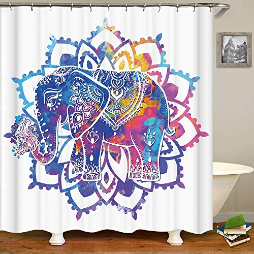 SARA NELL Elephant Shower Curtain Elephant Watercolor Mandala Colorful Tie Dye Color Shower Curtain with 12 Hooks,Durable Fabric Waterproof Shower Curtain for Bathroom