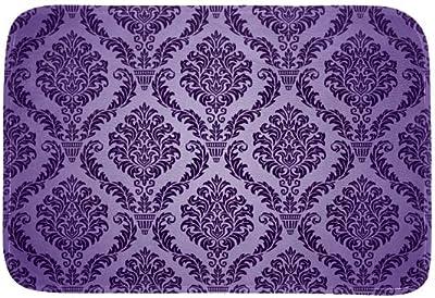 EGGDIOQ Doormats Purple Eurasian Pattern Custom Print Bathroom Mat Waterproof Fabric Kitchen Entrance Rug, 23.6 x 15.7in