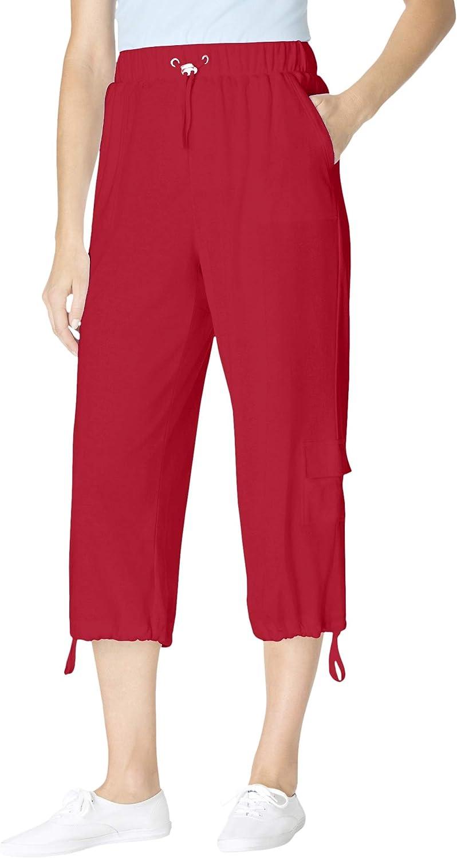 Woman Within Women's Plus Size Pull-On Knit Cargo Capri Pants