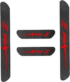 for Audi A3 A4 A5 A6 A8 S4 S5 S6 Q3 Q5 Q7 Door Sill Protector Reflective 4D Carbon Fiber Sticker Door Entry Guard Door Sill Scuff Plate Stickers Auto Accessories 4PCS Red