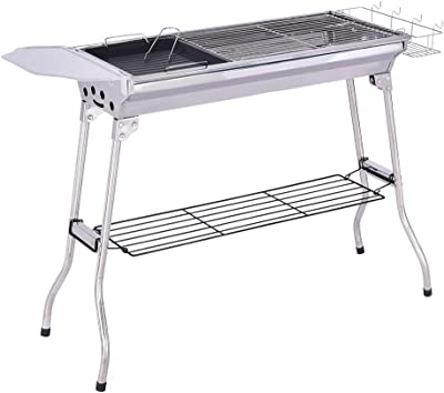 ASfairy Charcoal Grill Barbecue Portable BBQ - Stainless Steel Folding BBQ Grill Camping Grill Tabletop Grill Grill Portable Camping Cooking Small Grill for Outdoor Party
