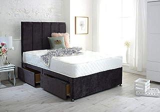 Base de lit en daim avec tête de lit sur pied et matelas à ressorts à mémoire de forme Royal (lit double 140 cm – 2 tiroir...