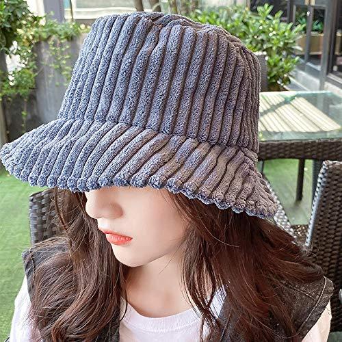 QIANWEIXI Fischerhut Cord Winter Eimer Hut Für Frauen Mädchen Mode Solid Panama Angelkappen Herbst Outdoor Flache Fischer Hüte Motorhaube Femme-Farbe: 2