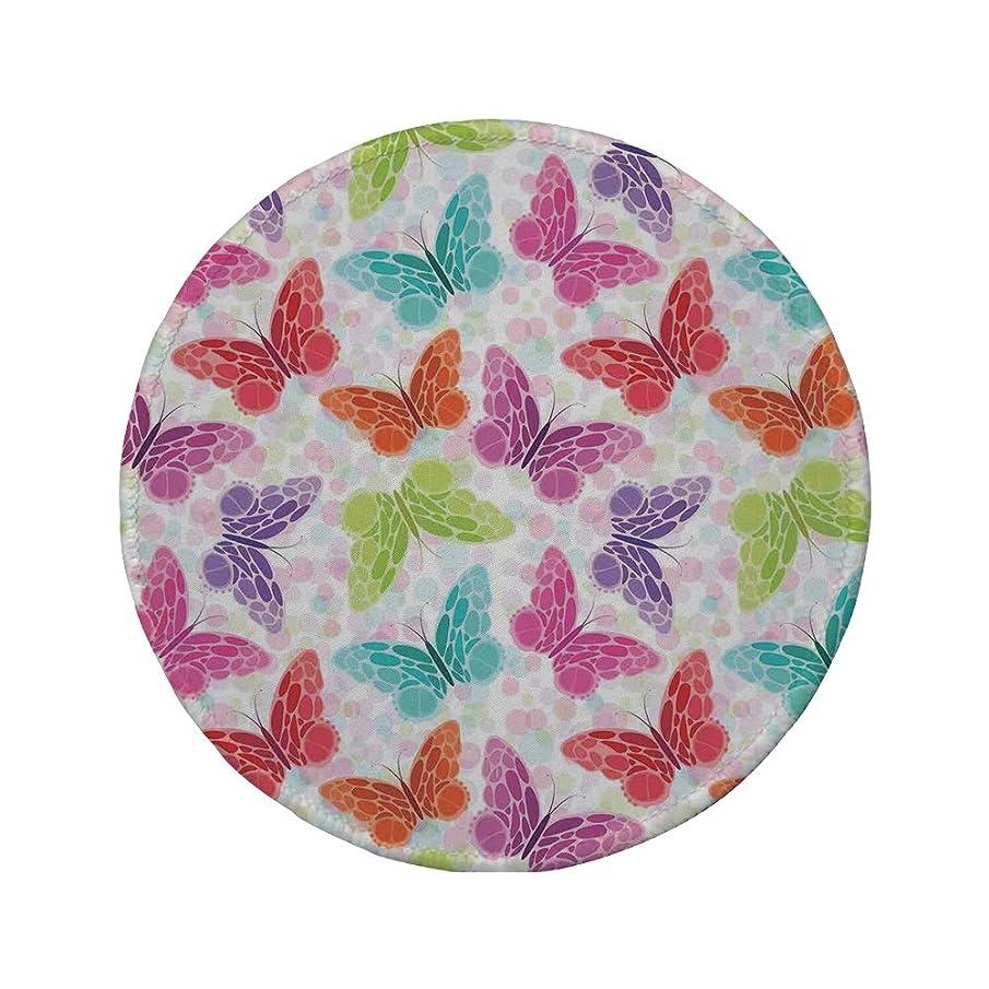 Non-Slip Rubber Round Mouse Pad,Butterflies,Pastel Colored Big Butterflies Moth Fairy Cheerful Fun Graphic Design Decor Home Decorative,Multi,11.8