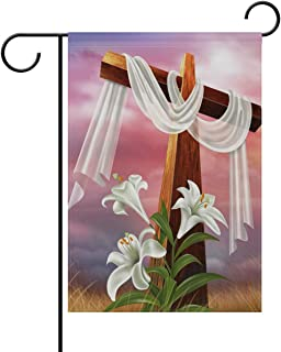 Yochoice ALAZA Easter Resurrection Cross Lily Polyester Garden Flag House Banner 28 x 40 inch, Two Sided Welcome Yard Decoration Flag for Wedding Party Home Decor