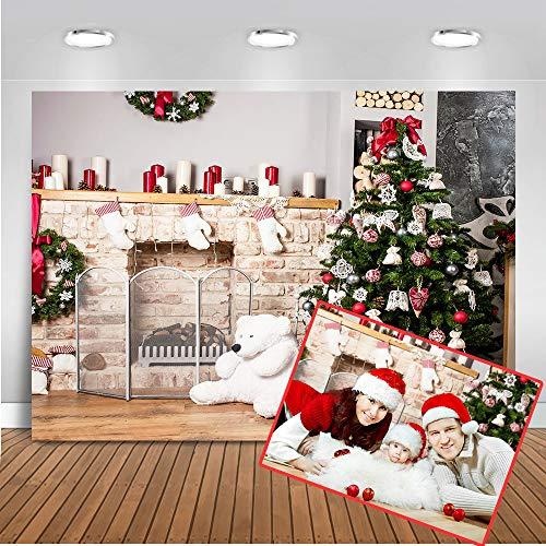 Mehofoto de Navidad Decoración de Navidad del Partido Telón de Fondo 7x5ft Chimenea del árbol de Navidad y...