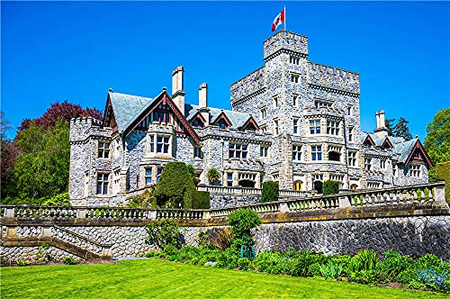 N\A Jigsaws 1000 Pieces for Adults Canada Castles Hatley Castle Tower Flagpuzzles for Adults 1000 Pieces