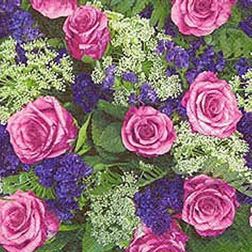 Linoows Serviettes 20 Pièce, de La Roseraie, Roses Et Lilas D'Été 33x33 CM