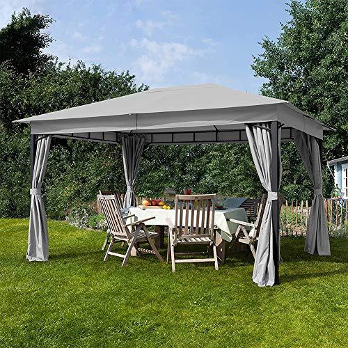 DNNAL - Cenador de jardín (3 x 4 m, impermeable, con 4 caras, para patio, jardín, barbacoa, pabellón, terraza, cenador