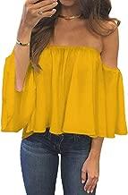 BLUETIME Women Summer Off Shoulder Chiffon Blouses Ruffles Short Sleeves Sexy Tops Casual T Shirts