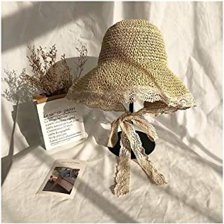 Hats Summer Hat Woven Straw Hat Lace Cute Style Folding Sun Hat Fashion (Color : Beige, Size : 56-58cm)