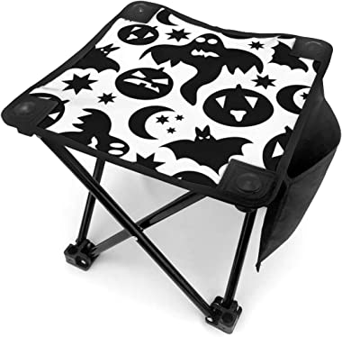 YOSULAZA Mini Camping Black Halloween Boo and Bat Folding Chairs, 1.6lb of Weight Fishing Chair for Outdoor Camping Walking H