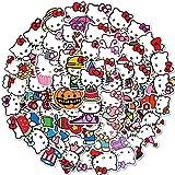 LSPLSP Pack de dibujos animados lindo Hello Kitty graffiti pegatinas equipaje monopatín guitarra Nota Pad lindo dibujos animados decoración habitación 50 unids/