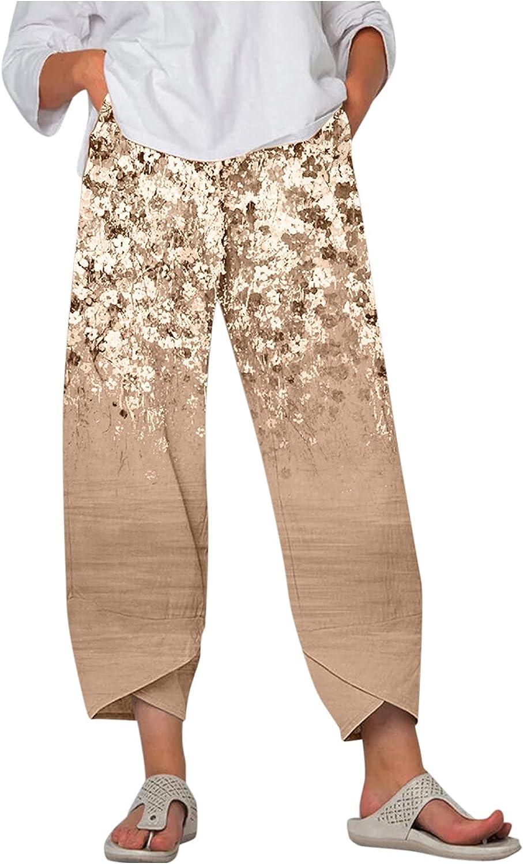 Toeava Casual Pants for Women,Vintage Plus Size Gradient Floral Print Straight Capri Pants Bohemian Harem Pants Trouser