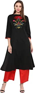 Bhama Couture Women's A Line Salwar Suit Set(Pack of 2)(BHKS024_Black)