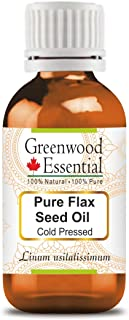 Greenwood Essential Pure Flax Seed Oil (Linum usitatissimum) 100% Natural Therapeutic Grade Cold Pressed for Personal Care...