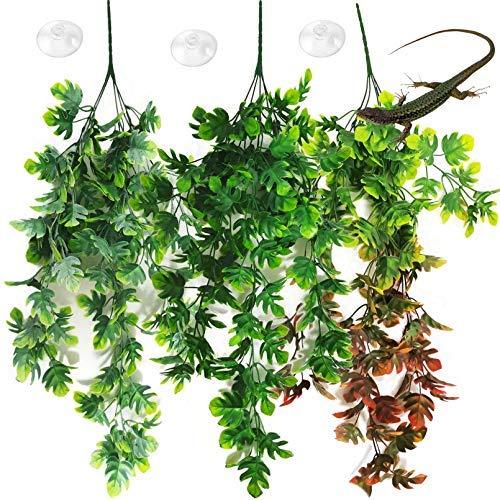 Plantas de reptiles colgantes terrario plástico viñas falsas lagartos escalada decoración tanque hábitat decoraciones con succión..