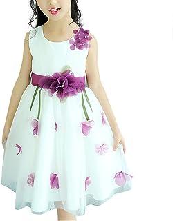 HAPPYJP 子供 ドレス ワンピース ガールズ フラワー フレア ノースリーブ 結婚式 チュール