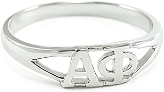 The Collegiate Standard Sterling Silver Alpha Phi Sorority Ring with Greek cut-out letters