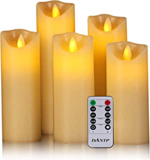 """Flameless Candles, 5"""" 6"""" 7"""" 8"""" 9"""" Set of 5 Real Wax Not Plastic Pillars Include Realistic Dancing LED Flames and 10-Key Remote Control with 2/4/6/8-hours Timer Function,300+ Hours (5X1)"""