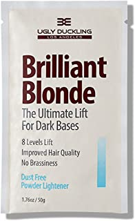 Brilliant Blonde Hair Powder Bleach Lightener (1.76 oz/50 gm). Gives 8+ Levels of Lift. For Dark Bases. Salon Use Only.