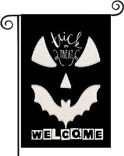 YANGYULU Halloween Burlap Welcome Garden Flag 12.5x18Inch Double Sided Fall Seasonal Farmhouse Yard Flags Banner, Scary Sp...