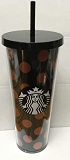 Starbucks Venti Black & Rose Gold Polka DOT Holiday 2017 Cold Cup Tumbler 24Oz