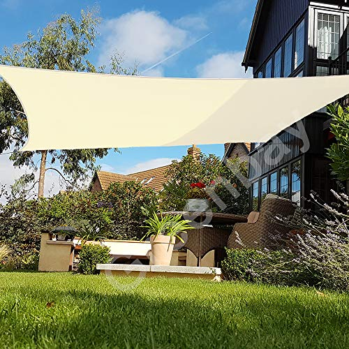 Greenbay Sun Shade Sail Outdoor Garden Patio Party Sunscreen Awning Canopy 98% UV Block Square Cream With Free Rope(3x3m)