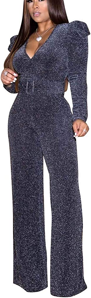 Women Deluxe Elegant Party Jumpsuits Sparkly At the price V Neck Flare Long Sleeve B