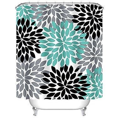 Uphome Multicolor Dahlia Pinnata Flower Customized Bathroom Shower Curtain - Waterproof and Mildewproof Polyester Fabric Bath Curtain Design,Teal,Black,Grey, 60  W x 72  H
