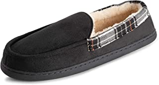 POLAR Mens Memory Foam Moccasin Loafer Outdoor Durable Rubber Sole Cozy Faux Fur Plush House Slipper Duel Size