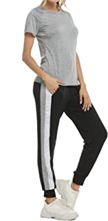 Aibrou Women's Casual 2 Piece Outfit Tracksuits Short Sleeve Shirts Striped Joggers Pants Set Sweatsuits
