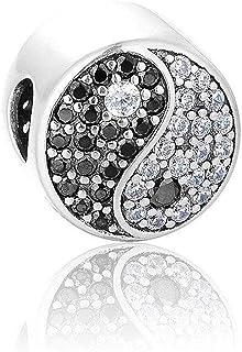 925 Plata de Ley Yin & Yang Charm - Pulsera Charm para Charm Pandora Pulseras, Feliz Aniversario Cumpleaños Charms para Pulsera