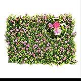 seto artificial con flores faux greenery privacidad pantallas verde seto telón de fondo plástico jardín falsa valla mat panel enrejado decoración de pared por yunhigh